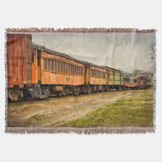 USA, Indiana. The North Mudson Railroad Museum Throw Blanket