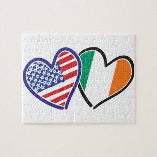 USA Ireland Heart Flags Jigsaw Puzzle