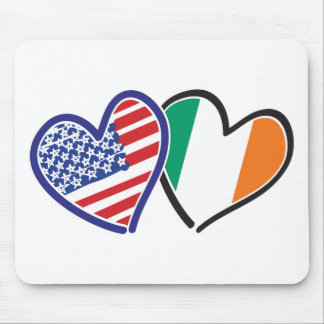 USA Ireland Heart Flags Mouse Pads