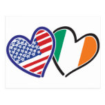 USA Ireland Heart Flags Post Cards