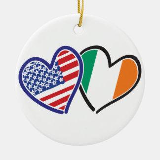 USA Ireland Heart Flags Round Ceramic Decoration
