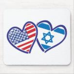 USA Israel Heart Flag Mouse Pad