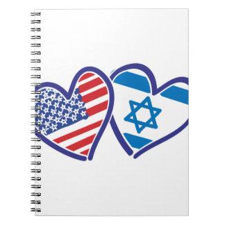 USA Israel Heart Flag Notebook