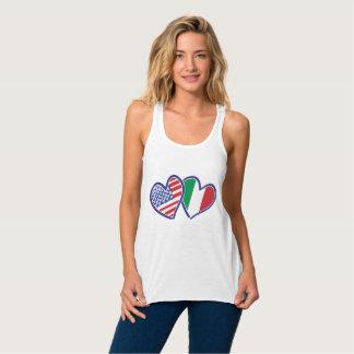 USA Italy Flag Love Hearts Tank Top