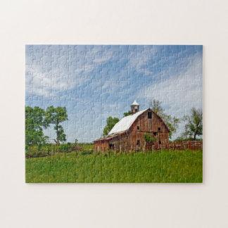 USA, Kansas. Old Red Barn Jigsaw Puzzle