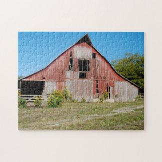 USA, Kansas, Old Red Barn Jigsaw Puzzle