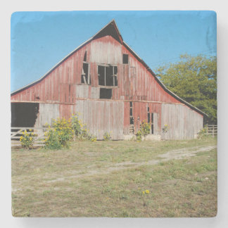USA, Kansas, Old Red Barn Stone Coaster