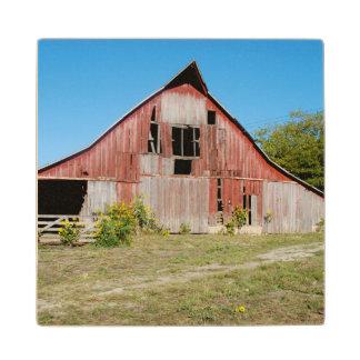 USA, Kansas, Old Red Barn Wood Coaster