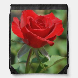 USA, Kansas, Red Rose Drawstring Bag