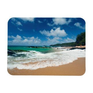 USA, Kauai, Hawaii. A Woman Strolls The Rocks Rectangular Magnet