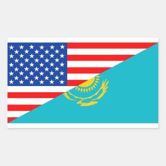 usa Kazakhstan country half flag america symbol Rectangular Sticker
