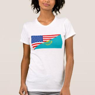 usa Kazakhstan country half flag america symbol T-Shirt