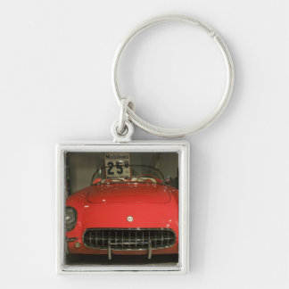 USA, Kentucky, Bowling Green: National Corvette 3 Silver-Colored Square Key Ring