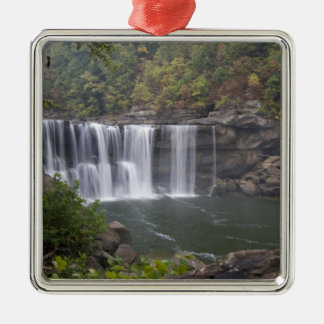 USA - Kentucky. Cumberland Falls on the Silver-Colored Square Decoration