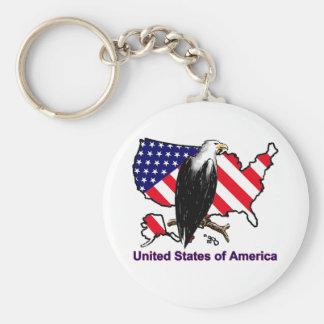 USA BASIC ROUND BUTTON KEY RING