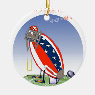 USA kicked in the grass, tony fernandes Round Ceramic Decoration
