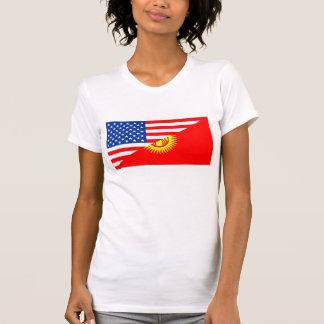 usa Kyrgyzstan country half flag america symbol T-Shirt