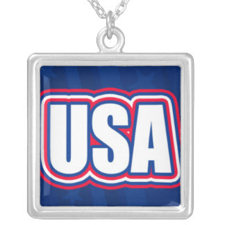USA Lettering on Blue Silver Plated Necklace