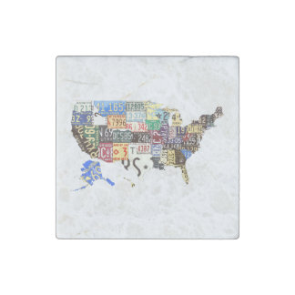 USA license plates - all states vintage Stone Magnet