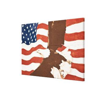 USA, Louisiana, Port Allen. Patriotic mural Canvas Print