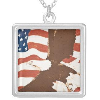 USA, Louisiana, Port Allen. Patriotic mural Silver Plated Necklace