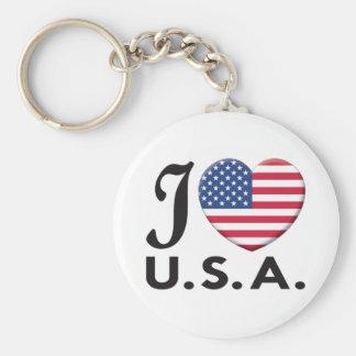 USA Love Basic Round Button Key Ring