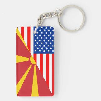usa macedonia country half flag america symbol Double-Sided rectangular acrylic key ring