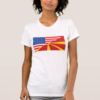 usa macedonia country half flag america symbol T-Shirt