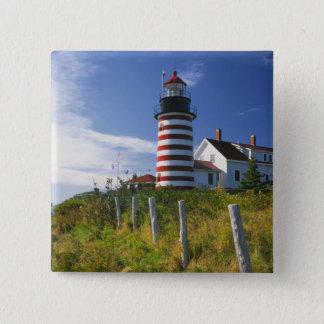 USA, Maine, Lubec. West Quoddy Head Lighthouse 15 Cm Square Badge