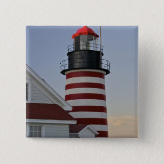 USA, Maine, Lubec. West Quoddy Head Lighthouse, 15 Cm Square Badge