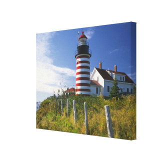 USA, Maine, Lubec. West Quoddy Head Lighthouse Canvas Print