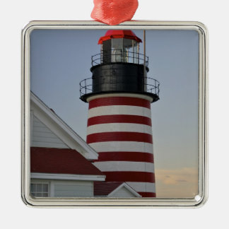 USA, Maine, Lubec. West Quoddy Head Lighthouse, Christmas Ornament