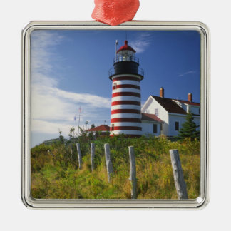 USA, Maine, Lubec. West Quoddy Head Lighthouse Christmas Ornament