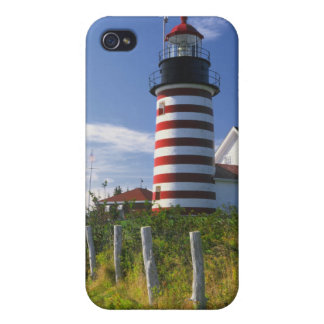 USA, Maine, Lubec. West Quoddy Head Lighthouse Cover For iPhone 4