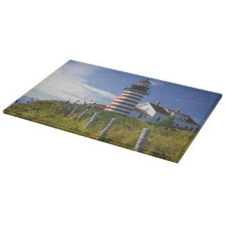 USA, Maine, Lubec. West Quoddy Head Lighthouse Cutting Board