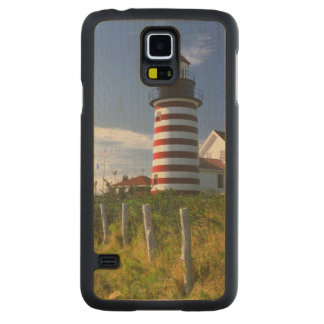 USA, Maine, Lubec. West Quoddy Head Lighthouse Maple Galaxy S5 Slim Case