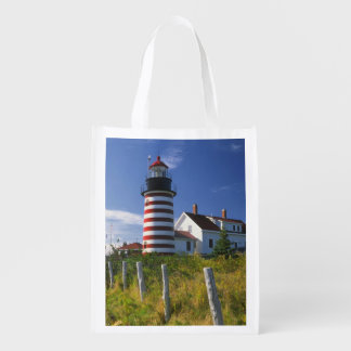 USA, Maine, Lubec. West Quoddy Head Lighthouse Reusable Grocery Bag