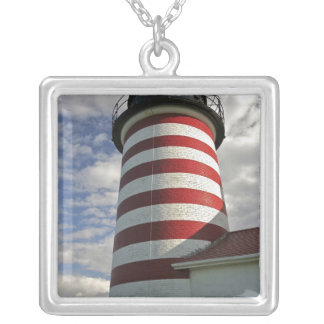 USA, Maine, Lubec. West Quoddy Head LIghthouse Silver Plated Necklace