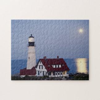 USA, Maine, Portland, Cape Elizabeth, Lighthouse Jigsaw Puzzle
