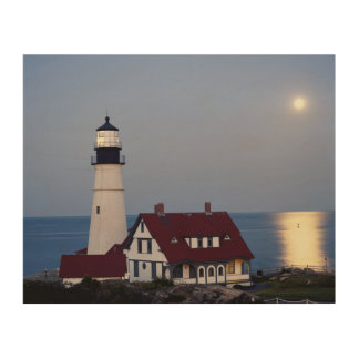 USA, Maine, Portland, Cape Elizabeth, Lighthouse Wood Wall Decor