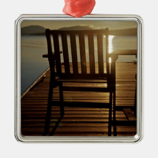 USA, Maine, Rockwood. A chair with a view of Christmas Ornament