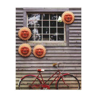 USA, Maine, Wiscasset, Sun Masks And Bicycle Canvas Print