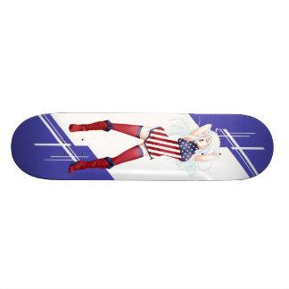 USA Manga girl dressed in Flag - America Custom Skateboard
