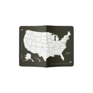 USA map, american travel black & white Passport Holder