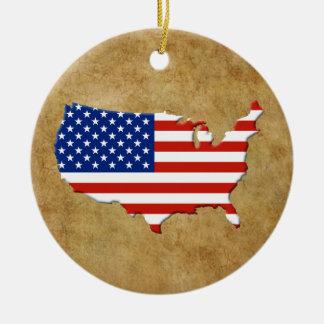 USA map Christmas Ornament