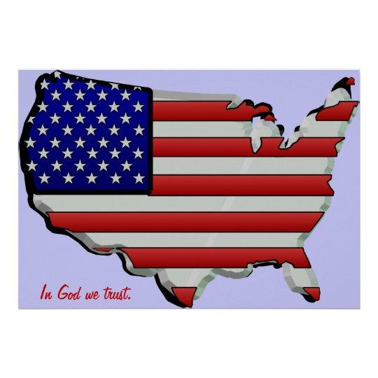 USA Map Flag 3D Stars & Stripes Poster
