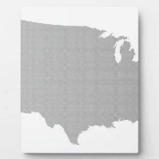 USA Map Halftone Silhouette Photo Plaque