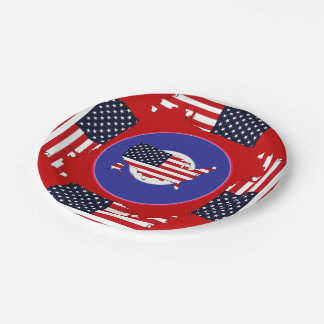 USA Map Paper Plate