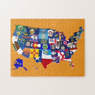USA Map State Flags Mosaic Jigsaw Puzzle