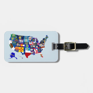USA Map State Flags Mosaic Luggage Tag Template